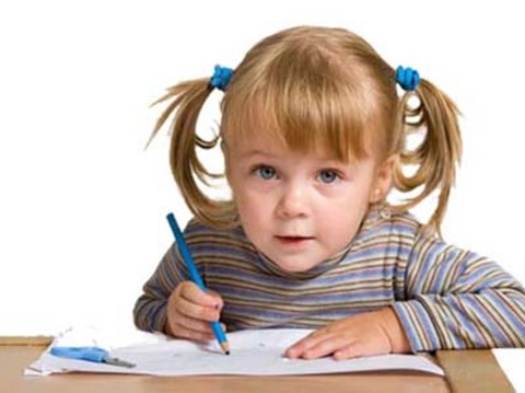 young pretty girl learn drawing with blue pen