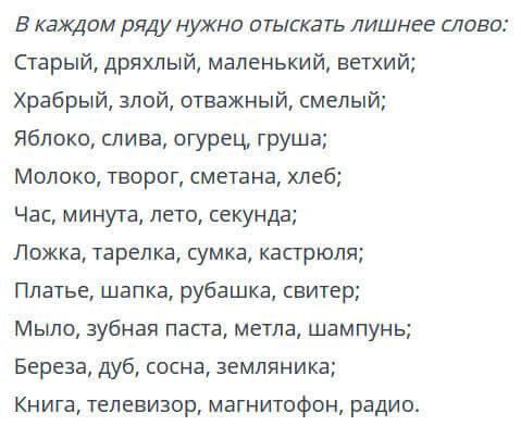 Перечень слов